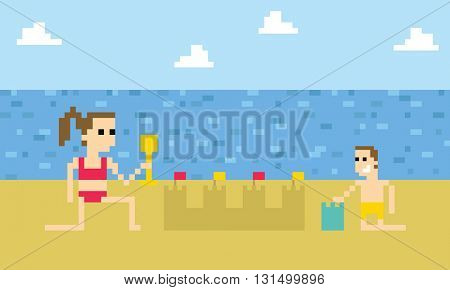 Pixel Art Image Of Children Building Sandcastle On Beach