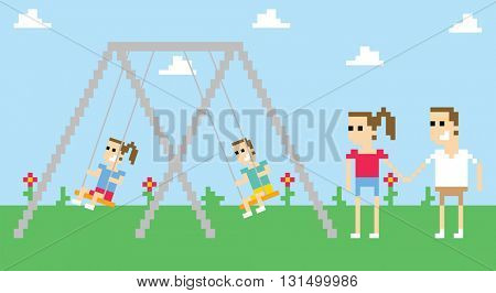 Pixel Art Image Of Family Playing On Swings In Park