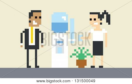 Pixel Art Image Of Businesspeople By Water Cooler In Office