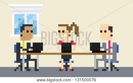 Pixel Art Image Of Business Team Meeting In Office
