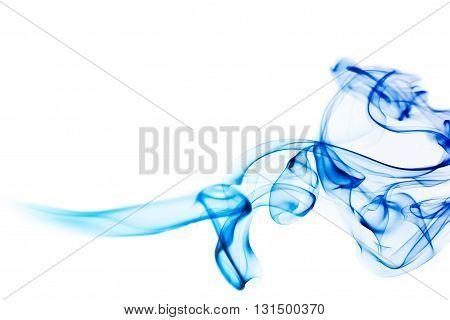 Colorful blue smoke isolated on white background
