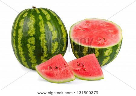 Juicy delicious sweet watermelon isolated on white background (with clipping path)