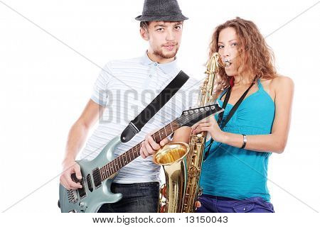 Shot of a musical band playing their instruments with great emotions.