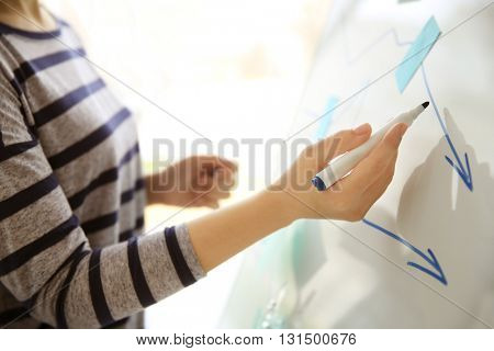 Businesswoman drawing schedule on whiteboard