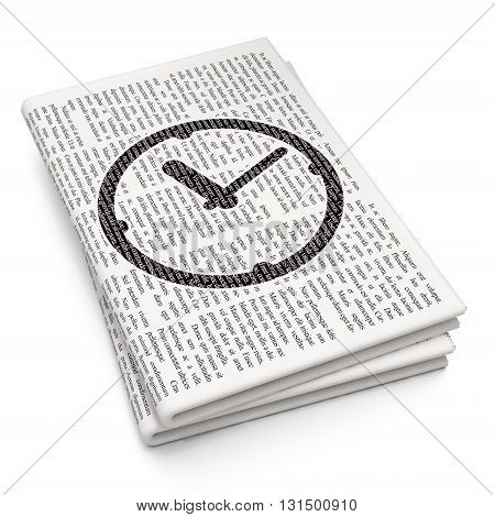 Timeline concept: Pixelated black Clock icon on Newspaper background, 3D rendering