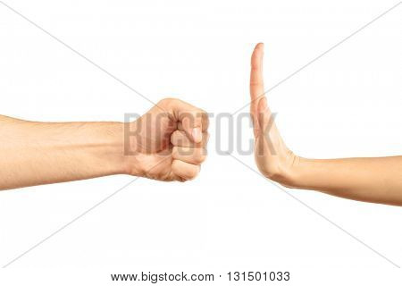 Woman hand stopping angry man fist, isolated on white