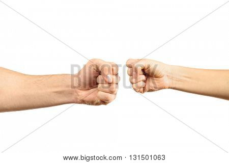 Man and woman fists, isolated on white