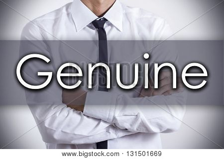 Genuine - Young Businessman With Text - Business Concept