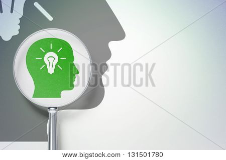 Marketing concept: magnifying optical glass with Head With Light Bulb icon on digital background, empty copyspace for card, text, advertising, 3D rendering