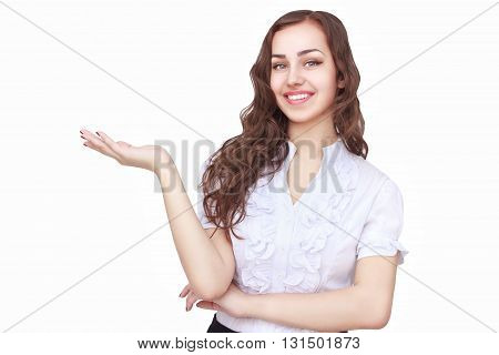 Young succesfull businesswoman with palms up showing something  on isolated background