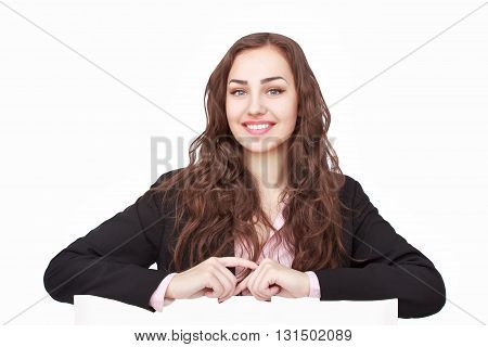 Young smiling woman show blank card or paper on white background.