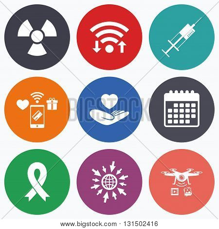 Wifi, mobile payments and drones icons. Medicine icons. Syringe, life insurance, radiation and ribbon signs. Breast cancer awareness symbol. Hand holds heart. Calendar symbol.
