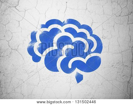 Healthcare concept: Blue Brain on textured concrete wall background