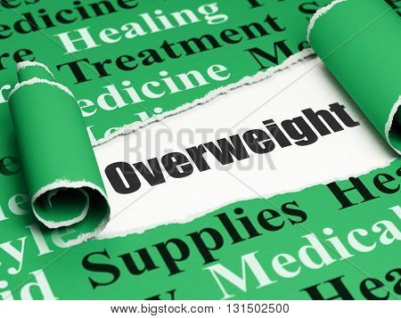 Medicine concept: black text Overweight under the curled piece of Green torn paper with  Tag Cloud, 3D rendering