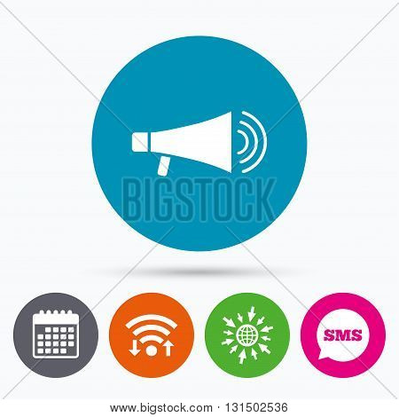Wifi, Sms and calendar icons. Megaphone sign icon. Loudspeaker symbol. Go to web globe.