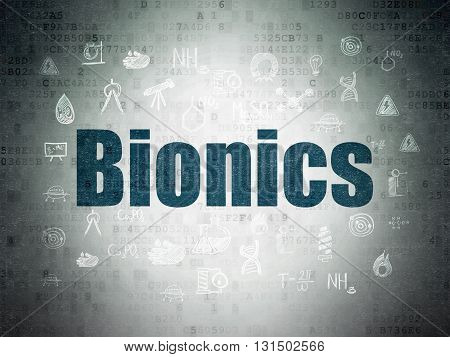 Science concept: Painted blue text Bionics on Digital Data Paper background with  Hand Drawn Science Icons