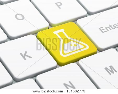 Science concept: computer keyboard with Flask icon on enter button background, selected focus, 3D rendering