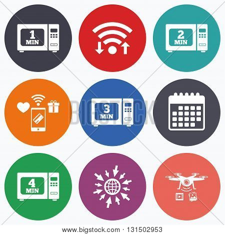 Wifi, mobile payments and drones icons. Microwave oven icons. Cook in electric stove symbols. Heat 1, 2, 3 and 4 minutes signs. Calendar symbol.
