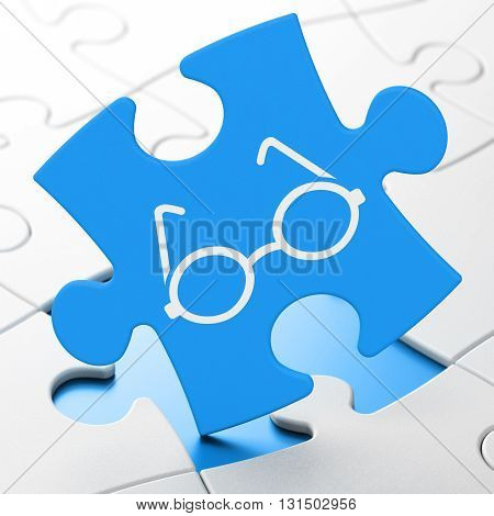 Science concept: Glasses on Blue puzzle pieces background, 3D rendering