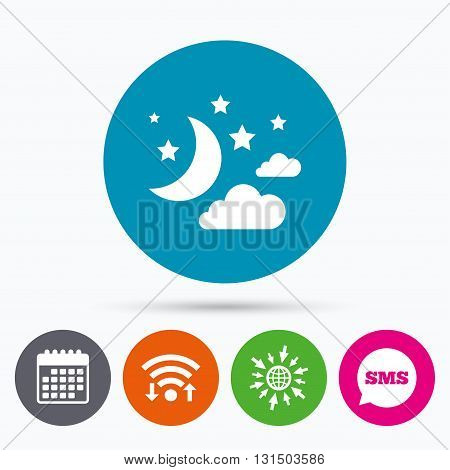 Wifi, Sms and calendar icons. Moon, clouds and stars icon. Sleep dreams symbol. Night or bed time sign. Go to web globe.