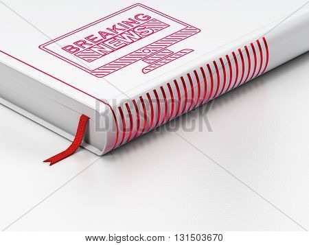 News concept: closed book with Red Breaking News On Screen icon on floor, white background, 3D rendering