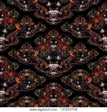 Diabolic expression tribal masks motif seamless pattern design in mixed warm colors against black background