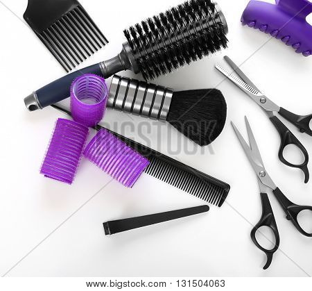 Barber set with tools, isolated on white