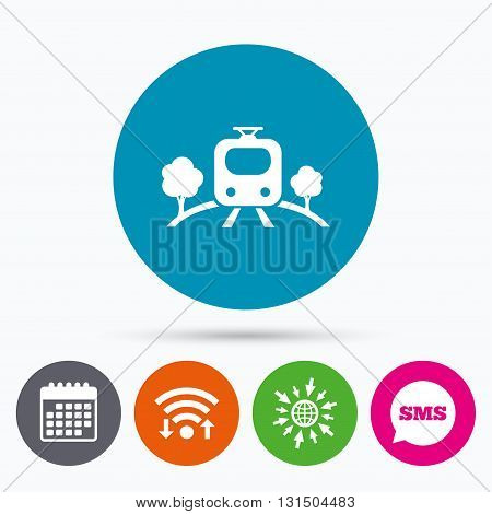 Wifi, Sms and calendar icons. Overground subway sign icon. Metro train symbol. Go to web globe.
