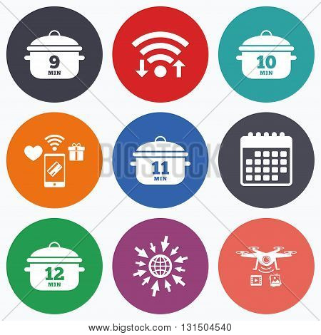 Wifi, mobile payments and drones icons. Cooking pan icons. Boil 9, 10, 11 and 12 minutes signs. Stew food symbol. Calendar symbol.