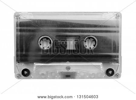 Old audio cassette, isolated on white