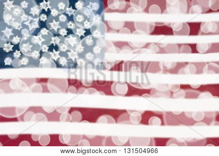 Abstract bokeh background of an American flag.