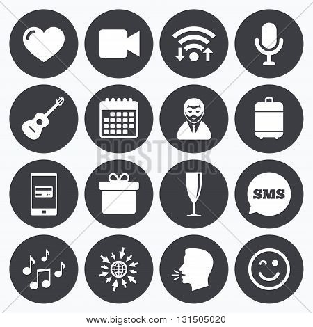 Wifi, calendar and mobile payments. Party celebration, birthday icons. Carnival, guitar and champagne glass signs. Gift box, music and video camera symbols. Sms speech bubble, go to web symbols.