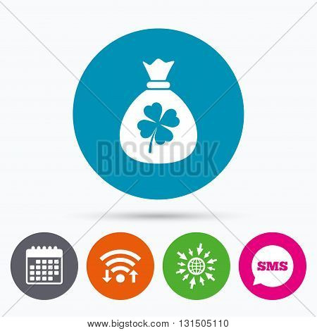 Wifi, Sms and calendar icons. Money bag with Clover sign icon. Saint Patrick symbol. Go to web globe.