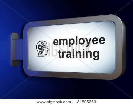 Learning concept: Employee Training and Head With Gears on advertising billboard background, 3D rendering