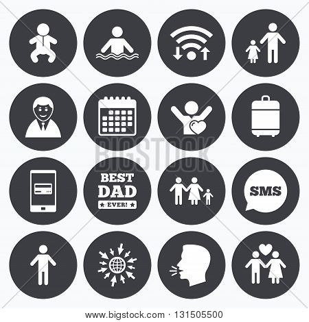 Wifi, calendar and mobile payments. People, family icons. Swimming pool, love and children signs. Best dad, father and mother symbols. Sms speech bubble, go to web symbols.