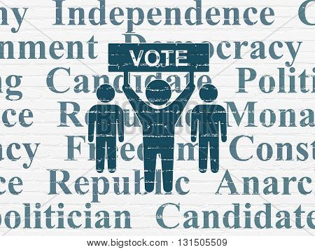 Political concept: Painted blue Election Campaign icon on White Brick wall background with  Tag Cloud