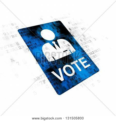 Political concept: Pixelated blue Ballot icon on Digital background