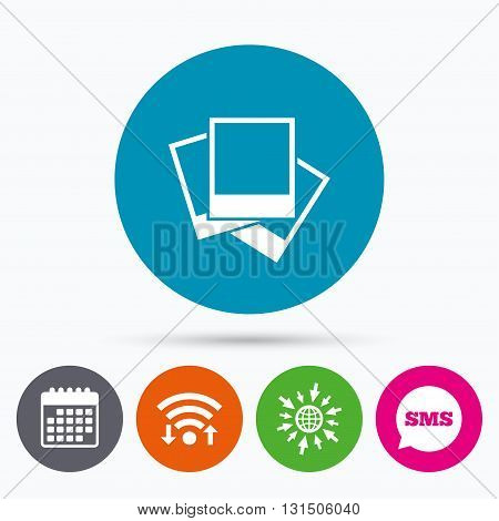 Wifi, Sms and calendar icons. Photo frames template sign icon. Empty photography symbol. Go to web globe.