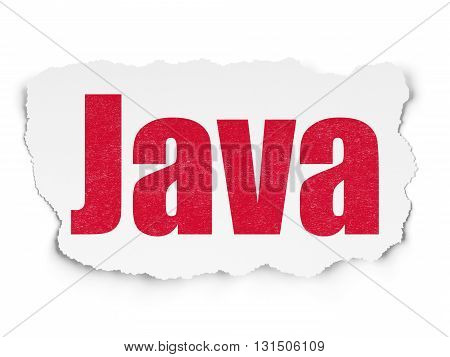 Software concept: Painted red text Java on Torn Paper background with Scheme Of Hand Drawn Programming Icons