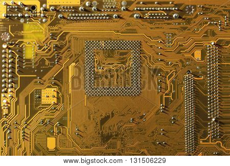 Computer motherboard, close up