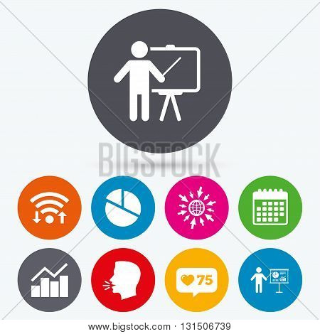 Wifi, like counter and calendar icons. Diagram graph Pie chart icon. Presentation billboard symbol. Man standing with pointer sign. Human talk, go to web.