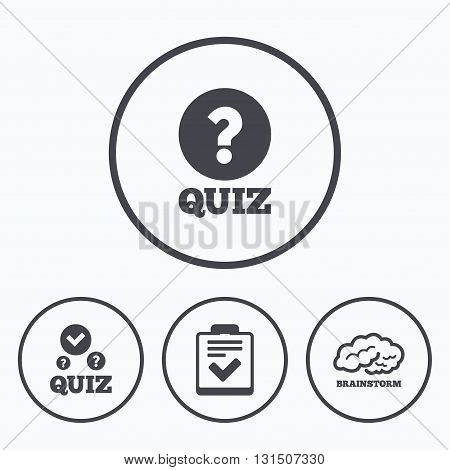 Quiz icons. Human brain think. Checklist with check mark symbol. Survey poll or questionnaire feedback form sign. Icons in circles.