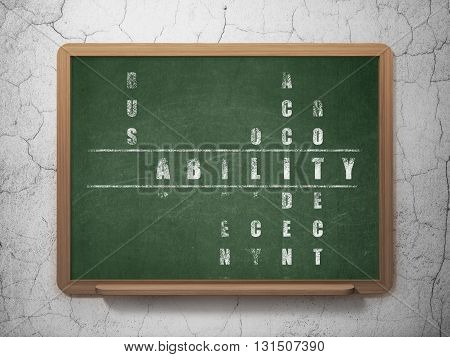 Insurance concept: Painted White word Liability in solving Crossword Puzzle on School board background, 3D Rendering