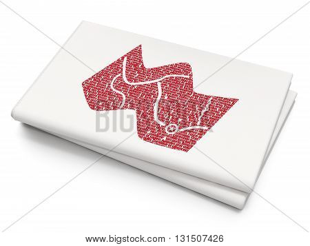 Tourism concept: Pixelated red Map icon on Blank Newspaper background, 3D rendering