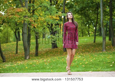 Fashion street style, young brunette woman posing in autumn park