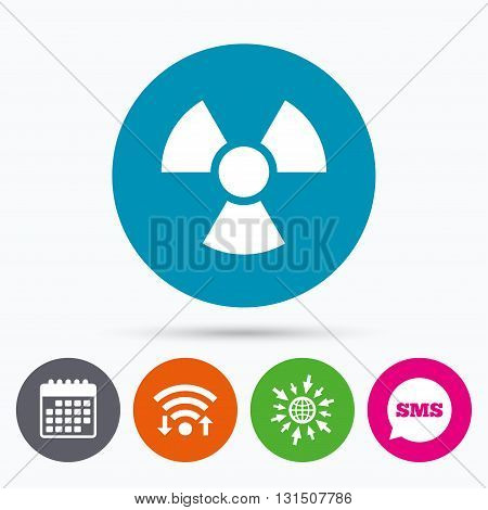 Wifi, Sms and calendar icons. Radiation sign icon. Danger symbol. Go to web globe.