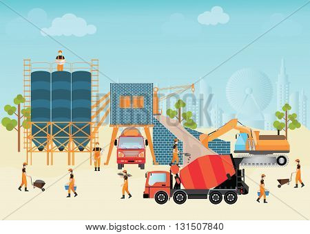 Industrial Cement Processing Plant with man workercity view on background vector illustration.