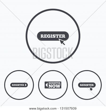 Register with hand pointer icon. Mouse cursor symbol. Membership sign. Icons in circles.