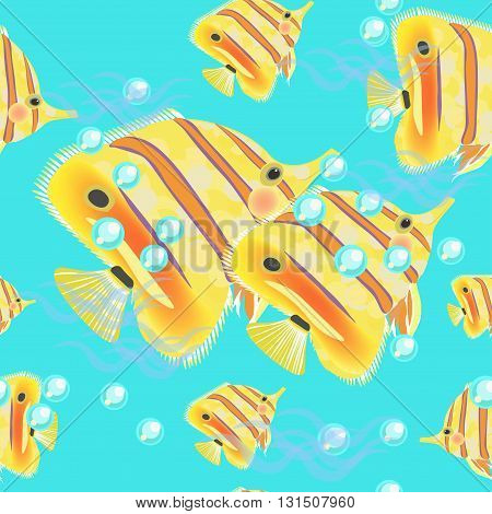 Butterflyfish Seamless Pattern On A Blue Background. Vector Illustration