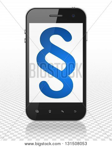 Law concept: Smartphone with blue Paragraph icon on display, 3D rendering